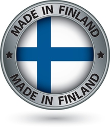 Made in Finland silver label with flag vector image