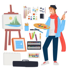 male artist painting landscape picture on easel vector image
