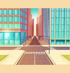 Modern city empty crossroads cartoon vector