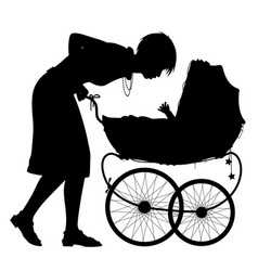 mother with pram silhouette vector image