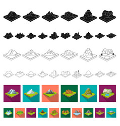Mountains massive flat icons in set collection vector