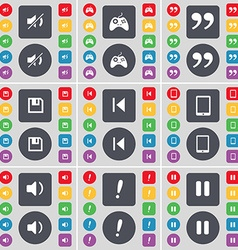 Mute gamepad quotation mark floppy media skip vector
