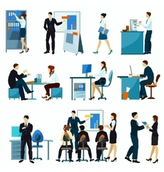 Office Workers Flat Set vector image
