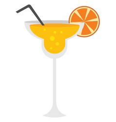 orange cocktail with straw on white background vector image