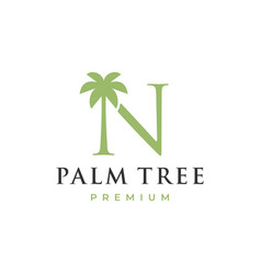 palm tree n letter mark logo icon vector image