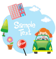 paper template with girl in green car vector image