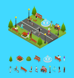 park activity in city and elements part isometric vector image