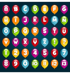Party Balloons Alphabet and numbers vector image