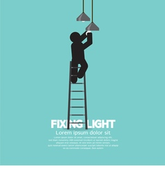 Person On Stepladder Change Ceiling Light vector
