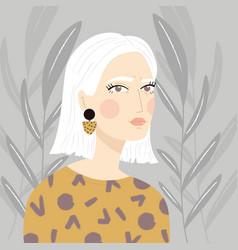 portrait a girl with white hair vector image