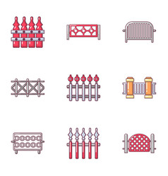 protective fence icons set cartoon style vector image