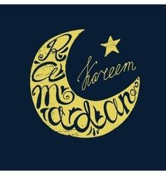 Ramadan Kareem doodle lettering in moon silhouette vector image