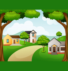 rural landscape with the houses and green lawn vector image
