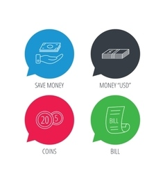 Save money cash money and bill icons vector