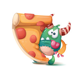 savory pizza with sausage and monster - cartoon vector image