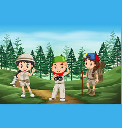 Scout children in the forest vector