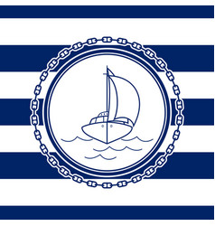 Sea emblem with an yacht vector