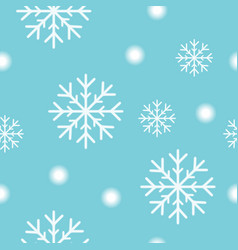 seamless christmas pattern with white snow flakes vector image