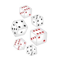 Set of casino white dice falling down vector
