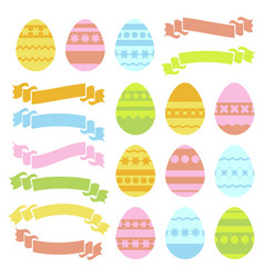 set of colored isolated easter eggs and ribbon vector image
