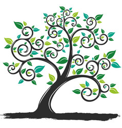 Silhouette tree with roots vector
