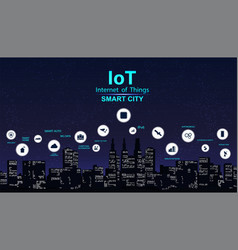 smart city concept with icon iot city vector image