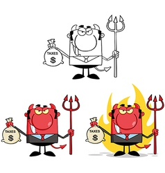 Smiling Devil Holding Taxes Bag Collection vector image vector image