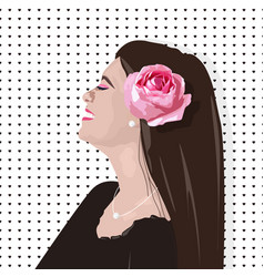 Smiling girl with rose flower on hair vector