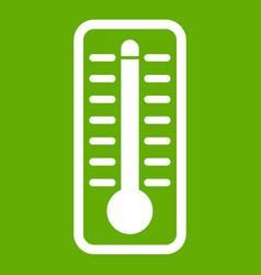 thermometer indicates high temperature icon green vector image