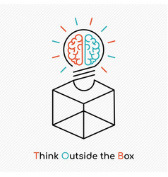 Think outside the box on new business idea concept vector