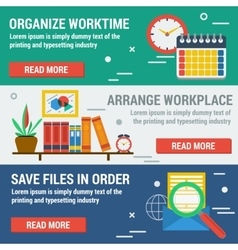 Three horizontal banners ORGANIZE WORKTIME vector image