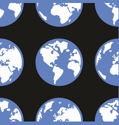 tile pattern with planet earth on black background vector image