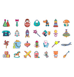 toys icon set cartoon style vector image