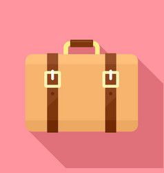 Trip leather bag icon flat style vector