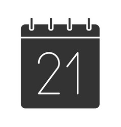 Twenty first day month glyph icon vector