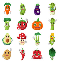 vegetable character icons vector image