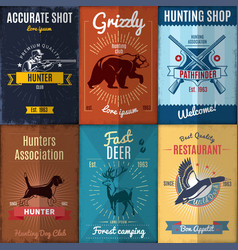 Vintage hunting posters collection vector