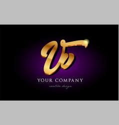 Vv v v 3d gold golden alphabet letter metal logo vector
