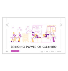 wash service landing page template characters vector image