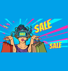 woman shopping on sale virtual reality vector image