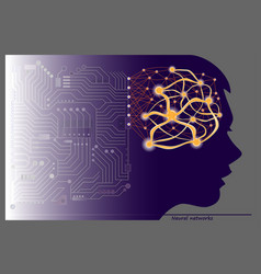 Women silhouette with neuron waves in brain vector