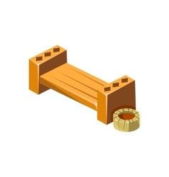 Wooden Bench With Empty Flower Bed Isometric vector