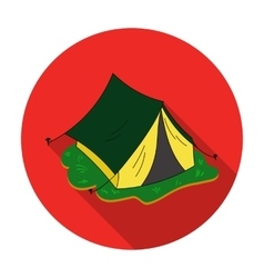 Yellow tent icon in flat style isolated on white vector image
