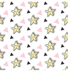 fashionable stars kids patches patterns vector image vector image