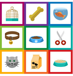 flat icon animal set of nutrition box cat eatin vector image