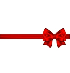 Red bow with ribbon on a white background vector image vector image