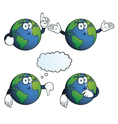 Thinking Earth globe set vector image vector image
