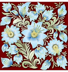 abstract vintage floral ornament on dark red vector image