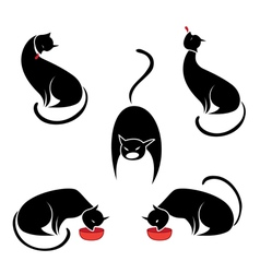 big set of the black cats vector image vector image
