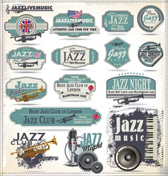 Jazz music stamps and labels vector image vector image